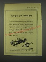1949 MG Cars Ad - Possession with personality