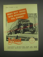 1949 Leyland Heavy Duty Trucks Ad - trucks with outstanding fuel economy