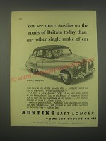 1949 Austin A70 Hampshire Car Ad - You see more Austins on the roads of Britain