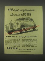 1949 Austin Devon Mk II car Ad - New high performance low price Austin