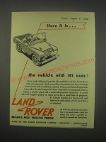 1949 Land-Rover Vehicle Ad - Here it is.. The vehicle with 101 uses