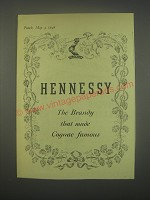 1949 Hennessy Cognac Ad - Hennessy the brandy that made cognac famous