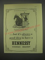 1949 Hennessy Cognac Ad - The disguised tram that could not frighten horses