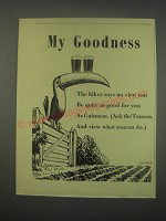 1949 Guinness Beer Ad - My Goodness The hiker says no view can be quite as good