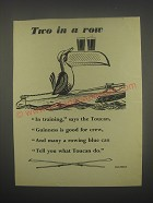 1949 Guinness Beer Ad - Two in a row In training, says the Toucan