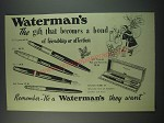 1949 Waterman Pens Ad -  877 Taperite, 575, 515 and Ball Pointer