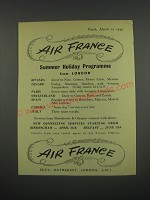 1949 Air France Ad - Air France Summer Holiday Programme