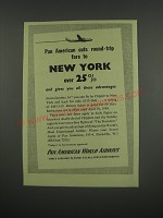 1949 Pan American World Airways Ad - Pan American cuts round-trip fare