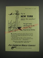 1949 Pan American World Airways Ad - Fly to New York above the weather