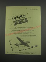 1949 KLM Royal Dutch Airlines Ad - KLM Royal Dutch Airlines 1919 30th Year 1949