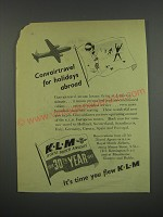 1949 KLM Royal Dutch Airlines Ad - Convairtravel for holidays abroad