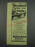1949 Moderna Blankets Ad - Blankets buy you food!