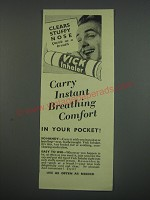 1949 Vicks Inhaler Ad - Clears stuffy nose quick as a breath