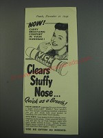 1949 Vicks Inhaler Ad - Now! Carry breathing comfort in your handbag