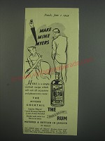 1949 Myers Rum Ad - Make Mine Myers
