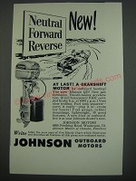 1949 Johnson QD Outboard Motor Ad - At last! A gearshift motor