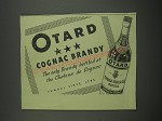 1949 Otard Cognac Brandy Ad - The only brandy bottled at the chateau de Cognac