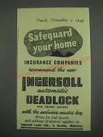 1949 Ingersoll Locks Ad - Safeguard your home