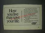 1991 American Cancer Society Ad - How you live may save your life
