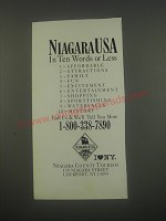 1991 Niagara County Tourism, Lockport NY Ad - Niagara USA in ten words or less