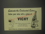 1959 Vichy Water Ad - Cutivate the continental custom
