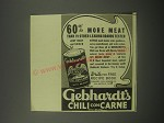 1940 Gebhardt's Chili Con Carne Ad - 60% more meat