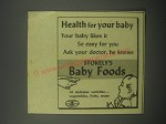 1940 STokely's Baby Foods Ad - Health for your baby