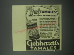 1939 Gebhardt's Tamales Ad - Real Tamales made in a sunlit American Kitchen