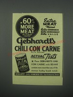 1939 Gebhardt's Chili Con Carne Ad - 60% more meat