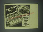 1939 Steero Bouillon Cubes Ad - Make thrilling treats of everyday meats