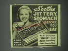 1939 Steero Bouillon Cubes Ad - Sooth jittery stomach before you eat