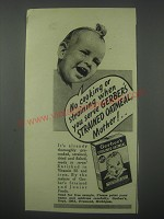 1941 Gerber's Strained Oatmeal Ad - No cooking or straining