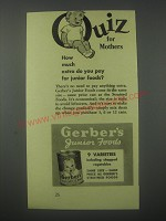 1941 Gerber's Junior Foods Ad - How much extra do you pay for junior foods