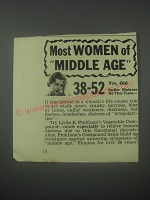 1941 Lydia E. Pinkham's Vegetable Compound Ad - Most women of middle age