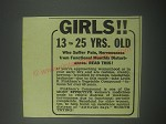 1941 Lydia E. Pinkham's Vegetable Compound Ad - Girls 13 to 25 yrs. Old