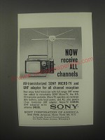 1963 Sony Micro-TV Ad - Now receive all channels
