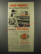 1942 Visking Skinless Frankfurters and Wieners Ad - Woman's weapon to win war!