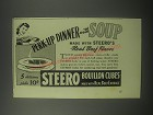 1942 Steero Bouillon Cubes Ad - Perk-up dinner with soup