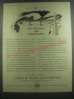 1953 Cable & Wireless Limited Ad - For decisions and opportunities