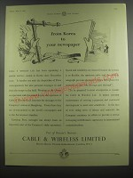 1953 Cable & Wireless Limited Ad - From Korea to your newspaper