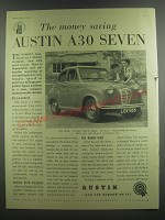 1953 Austin A30 Seven Car Ad - The money saving Austin A30 Seven