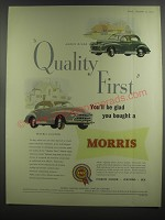 1953 Morris Minor and Oxford Cars Ad - Quality First