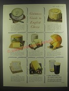 1953 Guinness Beer Ad - Guinness Guide to English Cheese