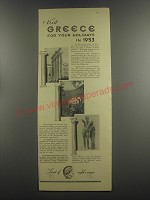 1953 Greece National Tourist Organisation Ad - Visit Greece for your Holidays