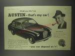 1953 Austin A30 Seven Car Ad - ll tell you why I say Austin - that's my car