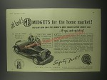 1953 MG T.D. Series M.G. Midget Ad - at last! MG Midgets for the home market