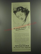 1953 Ovaltine Drink Ad - Do you get Complete peaceful sleep?