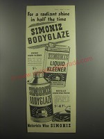 1953 Simoniz Bodyglaze and Liquid Kleener Ad - For a radiant shine