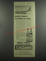 1953 Cinzano Vermouth Ad - World's largest passenger air liner