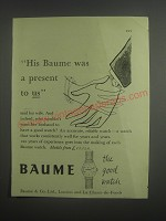 1953 Baume Watches Ad - His Baume was a present to us